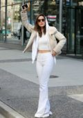 Olivia Munn steps out in an all white ensemble as she grabs lunch before heading back to work in Vancouver, Canada