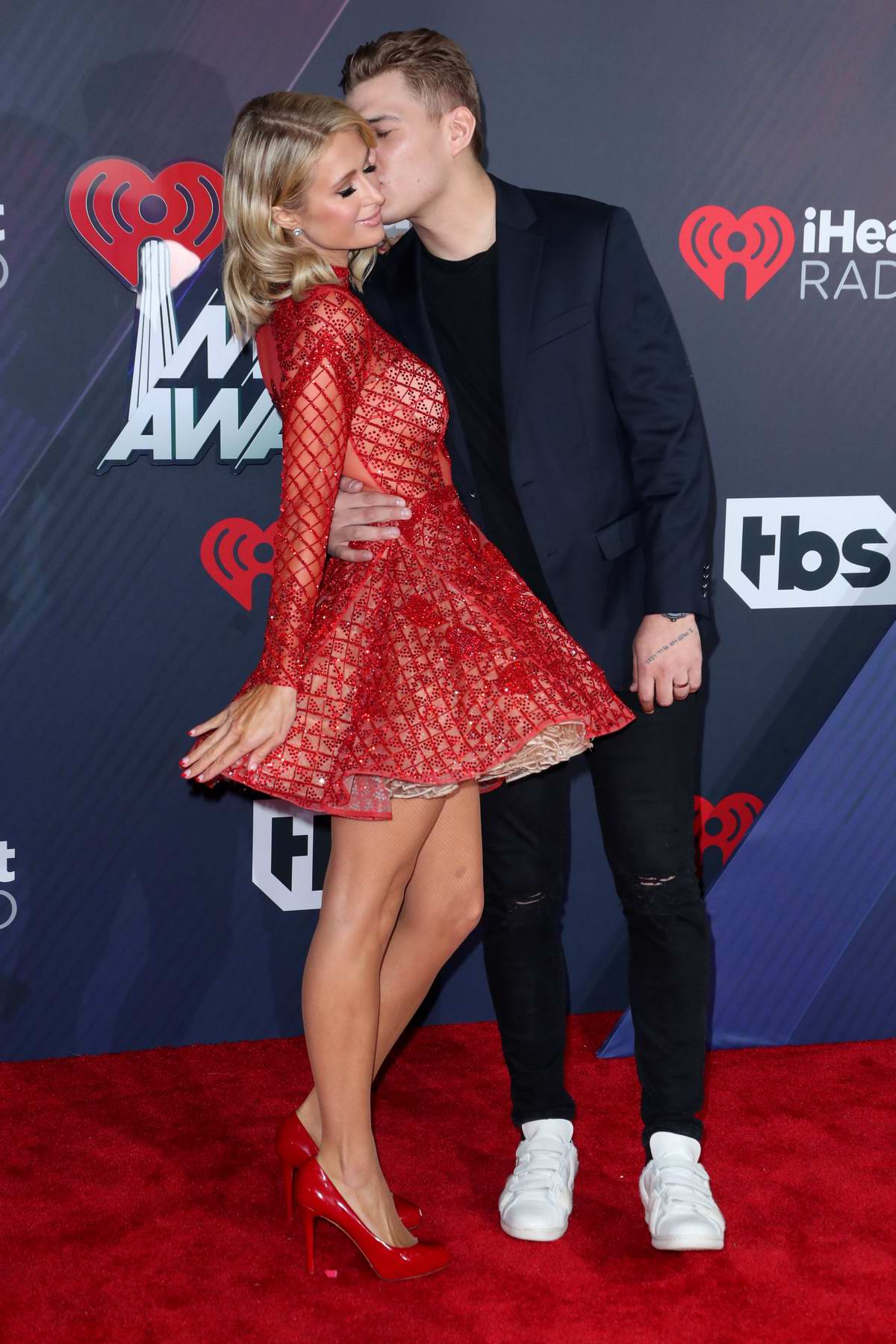 Paris Hilton attends the 2018 iHeartRadio Music Awards at The Forum in Inglewood, California