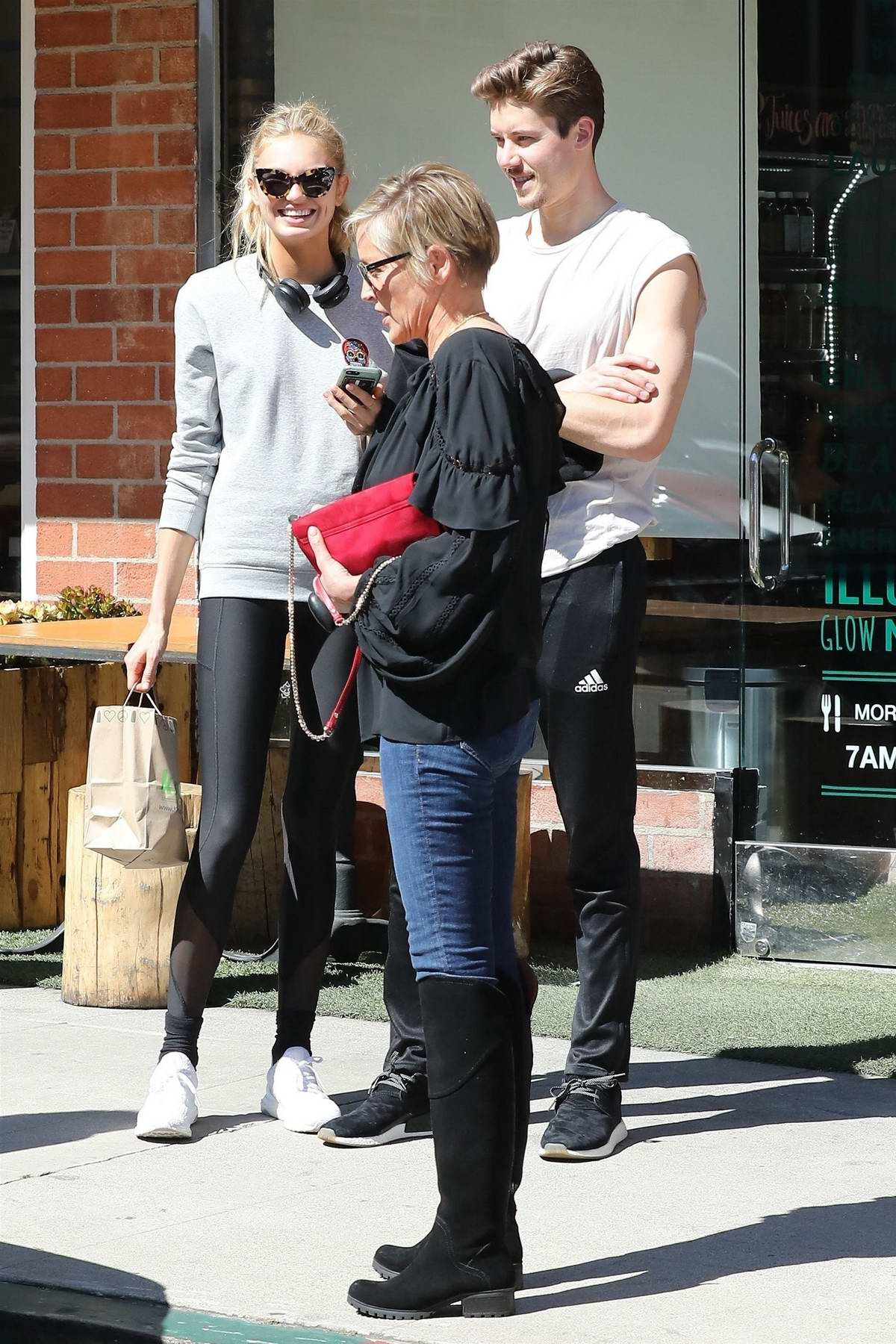 Romee Strijd and Sharon Stone run into each other while grabbing lunch at California Pizza Kitchen in Beverly Hills, Los Angeles