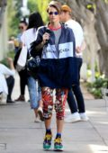 Ruby Rose wearing a Balenciaga jacket and colorful patterned pants while she stops by the Kate Somerville Skin Care Clinic in West Hollywood, Los Angeles