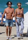 Sharon Stone enjoys a beach day with her boyfriend in Miami, Florida