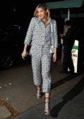 Sofia Boutella wears a patterned pantsuit as she arrives at Madeo in Beverly Hills, Los Angeles