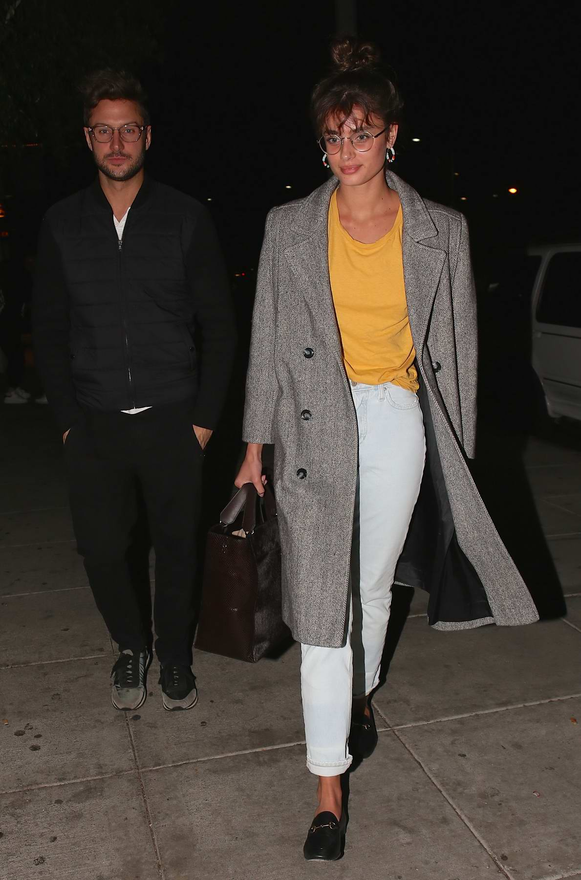 Taylor Hill and boyfriend Michael Stephen Shank out on a dinner date at Matsuhisa in Beverly Hills, Los Angeles