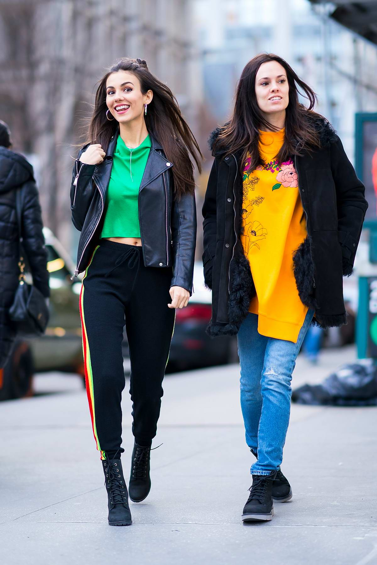 Victoria Justice wearing Alice and Olivia while out with a friend in Gramercy Park in New York City