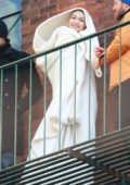 Gigi Hadid spotted on a fire escape during a photoshoot in New York City