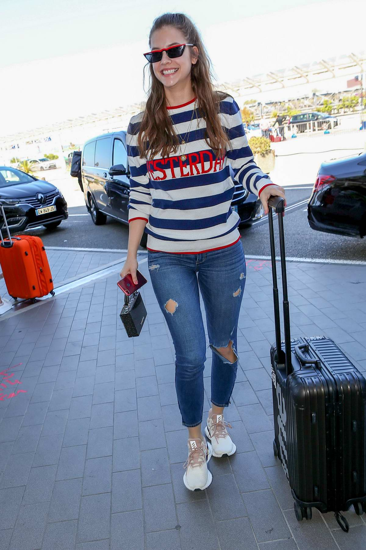 Barbara Palvin seen arriving at Nice airport as part as the 71st Cannes Film Festival in Nice, France