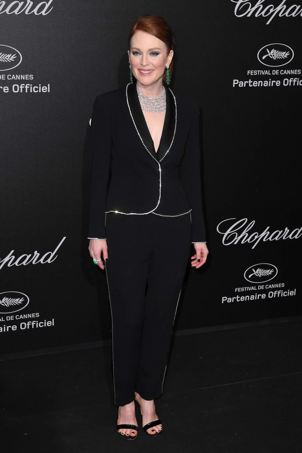 Julianne Moore wears Sonia Rykiel Pre-fall 2018 suit to as she attends Secret Chopard party during the 71st Cannes Film Festival in Cannes, France