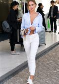 Kimberley Garner seen out and about in white skinny jeans and blue knotted shirt during the 71st Cannes Film Festival in Cannes, France