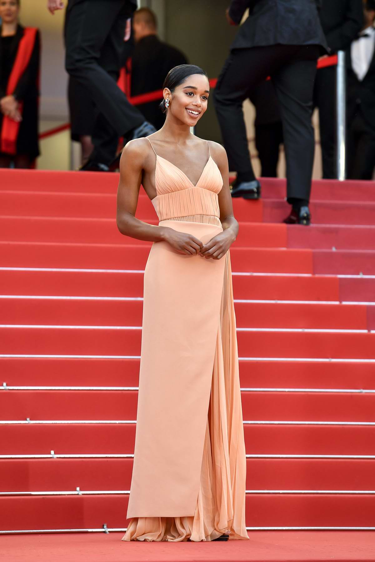 Laura Harrier attends the 'BlacKkKlansman' premiere during 71st Cannes Film Festival in Cannes, France