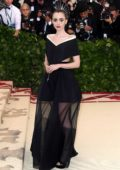 Lily Collins attends The Costume Institute Benefit Gala (MET Gala 2018) at Metropolitan Museum of Art in New York City
