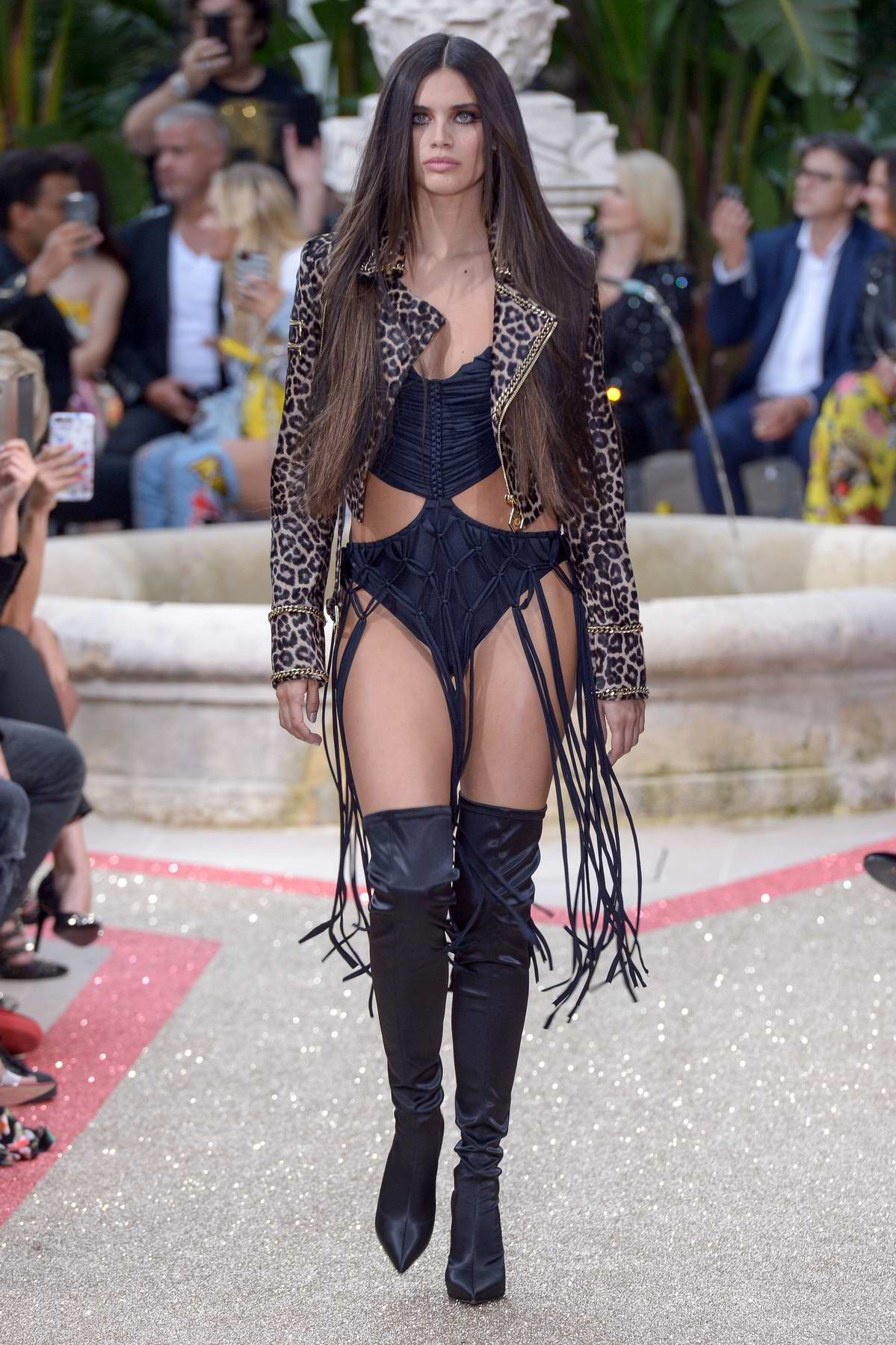 Sara Sampaio walks the runway for Philipp Plein Resort show during the 71st Cannes Film Festival in Cannes, France