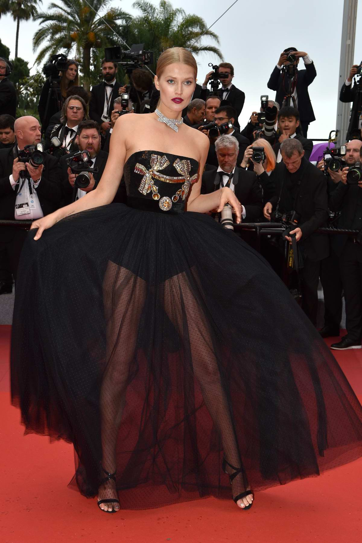 Toni Garrn attends 'Burning' premiere during 71st Cannes film festival in Cannes, France