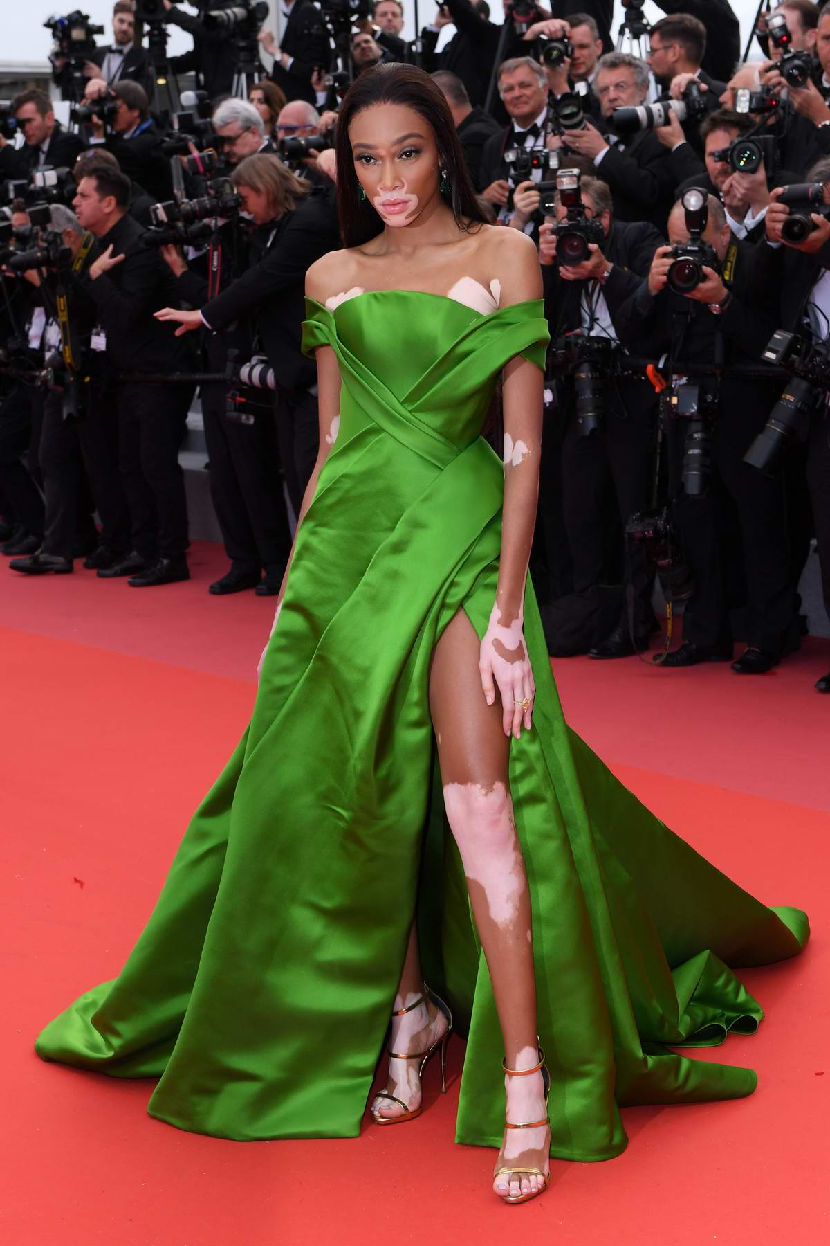 Winnie Harlow attends the 'BlacKkKlansman' premiere during 71st Cannes Film Festival in Cannes, France