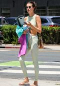 Alessandra Ambrosio wears matching sports bra and leggings as she steps out after a yoga class in Los Angeles