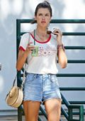 Alessandra Ambrosio spotted while shopping with her kids at the Malibu Country Mart in Malibu, California