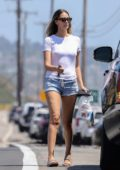 April Love Geary stepped out in a white t-shirt and denim shorts to pickup some groceries in Malibu, California