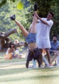 Dua Lipa enjoys a day out at the park with boyfriend Issac Carew in London, UK