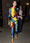 Dua Lipa stands out in a colorful outfit as she leaves 'The Late Show With Stephen Colbert' in New York City