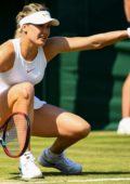 Eugenie Bouchard in action during day 2 of the Wimbledon Tennis Championship 2018 in London, UK