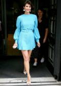 Gemma Arterton looks gorgeous in a short blue dress as she visit BBC Radio Two studios to promote her new movie 'The Escape' in London, UK