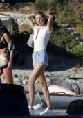 Gigi Hadid and Emily Ratajkowski departs Santa Marina Hotel for a day out on a boat in Mykonos, Greece