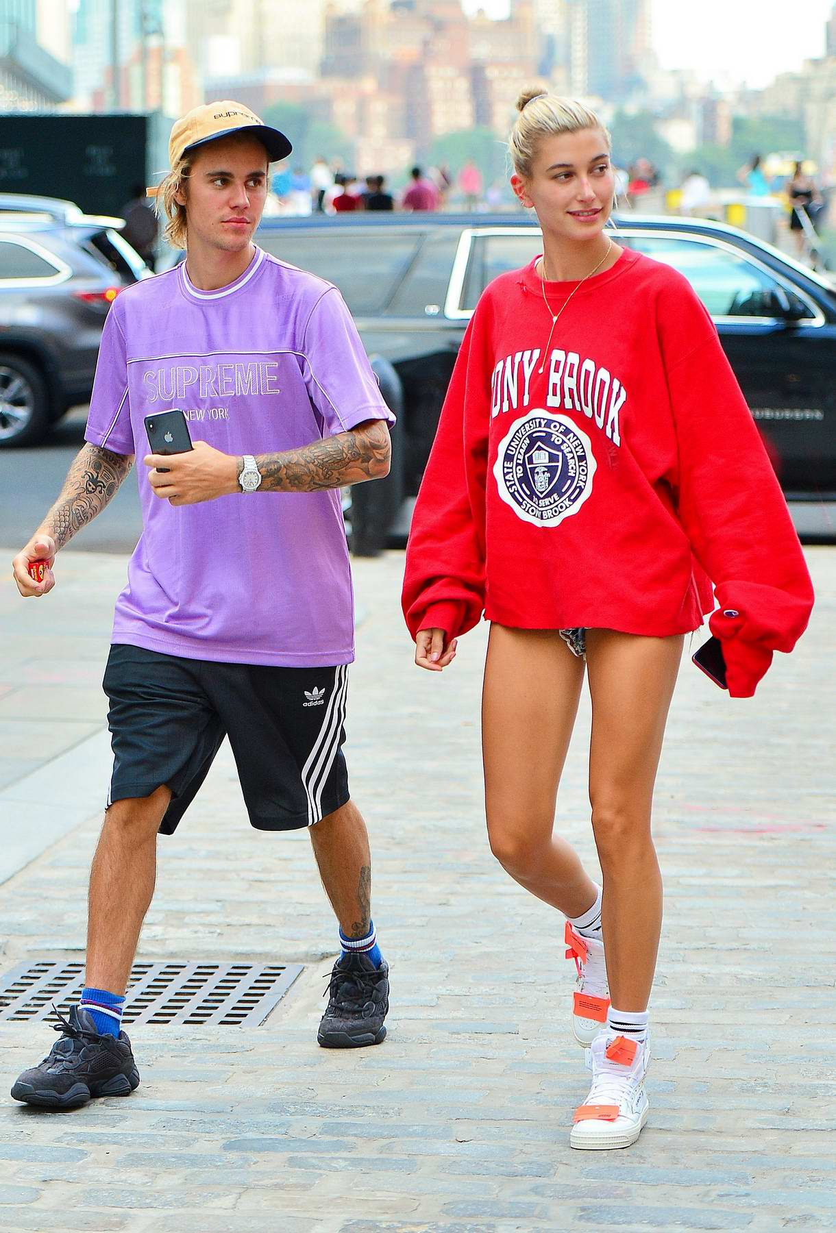 Hailey Baldwin and Justin Bieber are all smiles as they walk around South Street Seaport before heading over to catch a movie in New York City