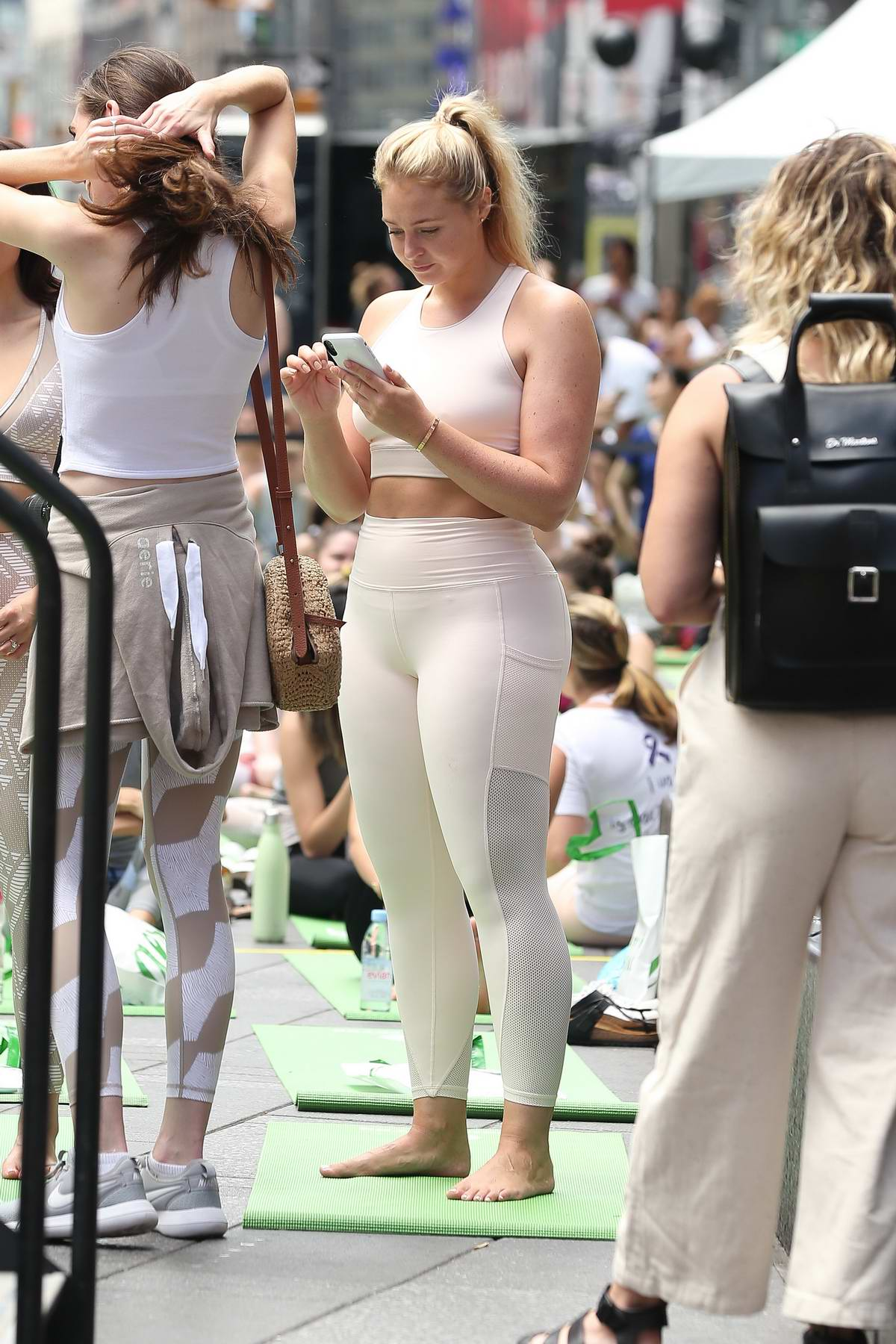Iskra Lawrence spotted at a yoga session in Times Square, New York City