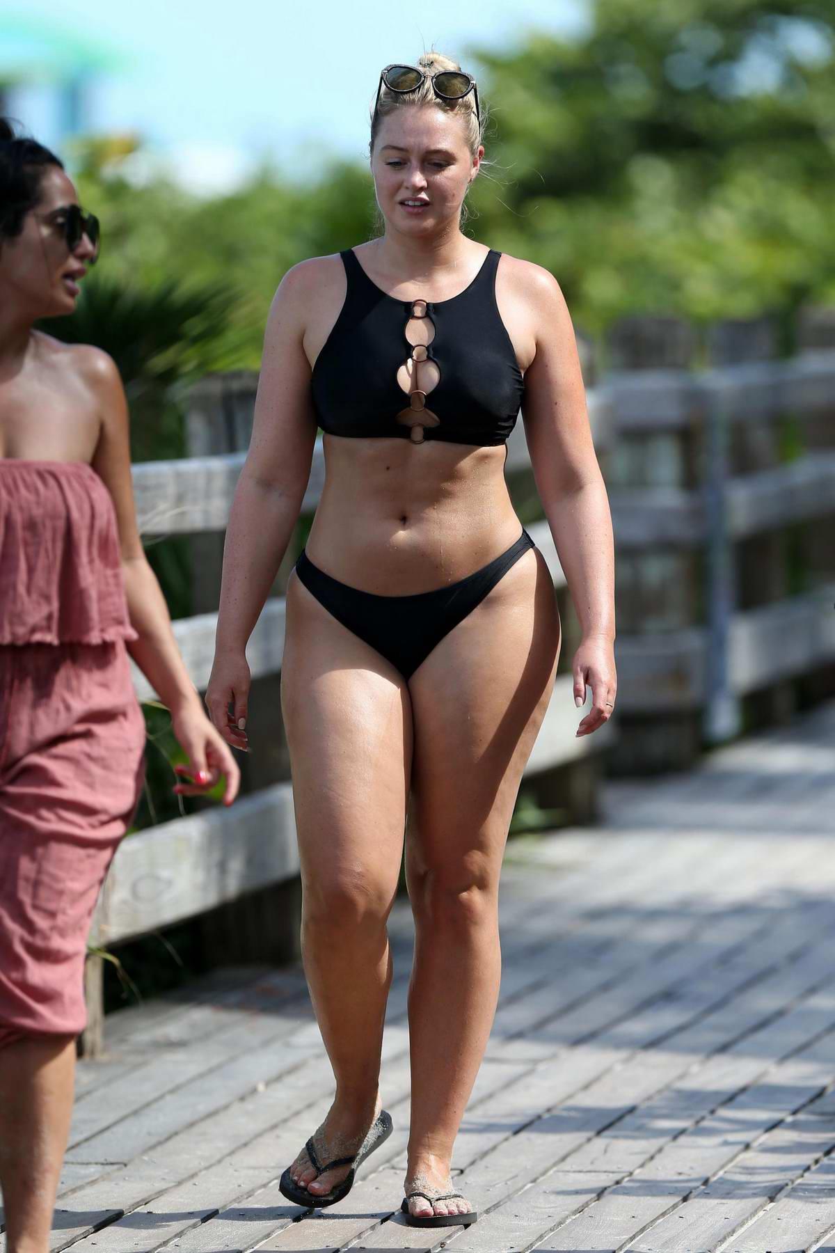 418bc586583 iskra lawrence wears a black bikini while on the beach during swim week in  miami beach, florida-120718_9