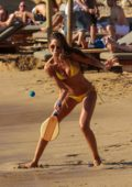 Izabel Goulart rocks a yellow bikini during a fun day on the beach with boyfriend Kevin Trapp in Mykonos, Greece