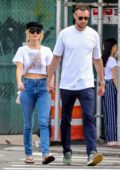 Jennifer Lawrence and Cooke Maroney hold hands as they walk to lunch at Fanelli Cafe in New York City
