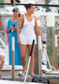 Jennifer Lopez wears a short white outfit during boat outing with her family to celebrate her birthday week in Nassau, The Bahamas