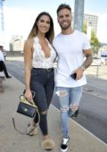 Jessica Shears and Dom Lever arrives at an engagement party at The Menagerie Bar and Restaurant in Manchester, UK