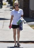Kaley Cuoco seen leaving morning yoga class wearing her 'Dog Mom' tee and shorts in Studio City, Los Angeles