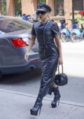 Lady Gaga wears an all black leather ensemble by Sonia Rykel while heading to a studio in New York City