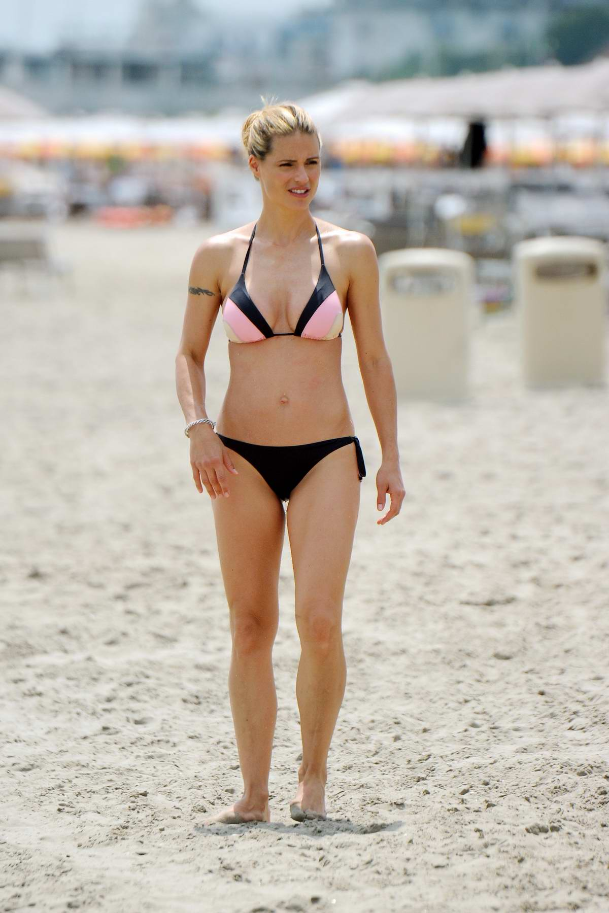 Michelle Hunziker wore a bikini while on the beach with her family in Cervia, italy