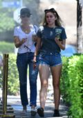 Miley Cyrus wore a t-shirt and denim shorts while out to lunch with her mother Tish in Los Angeles