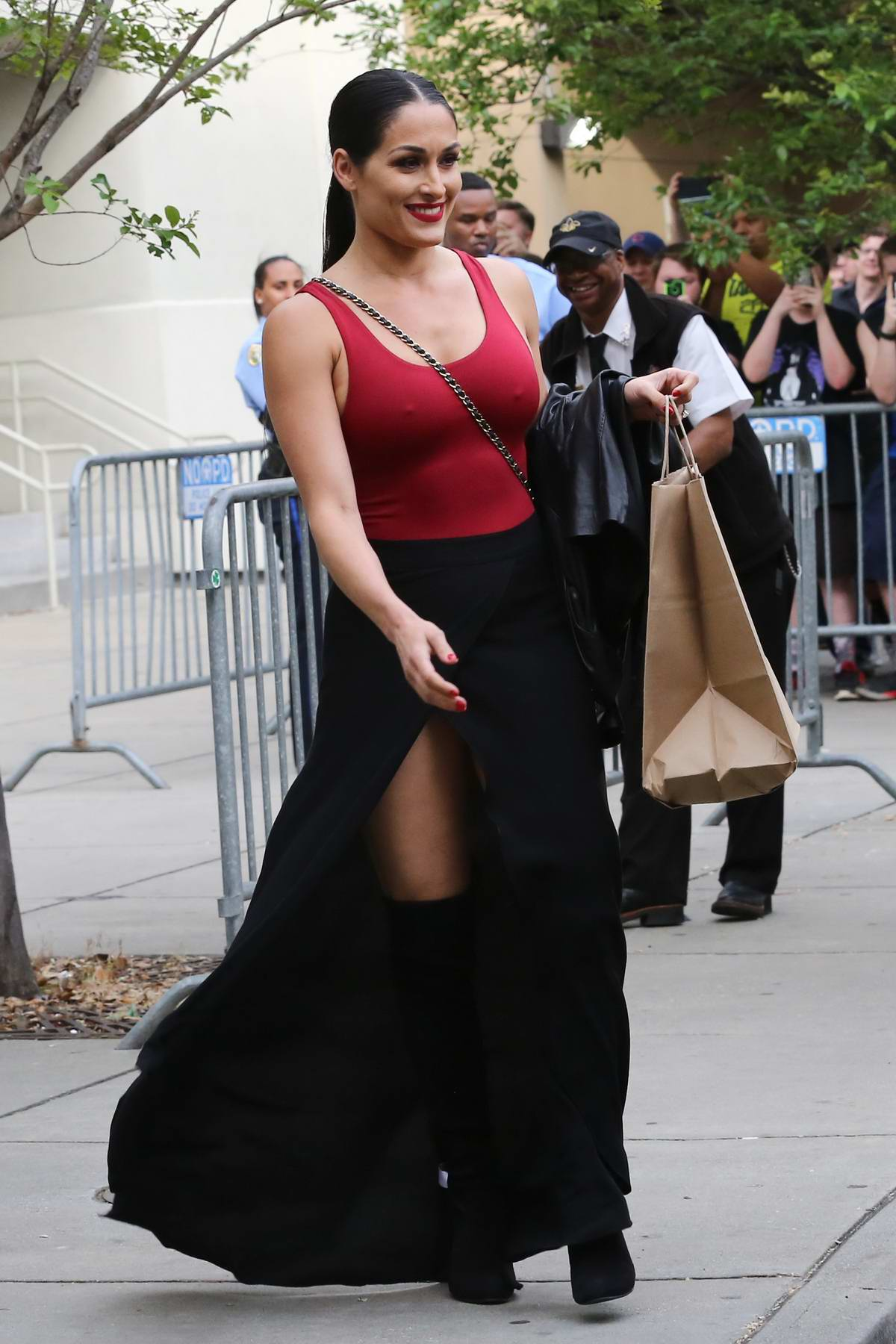 Nikki Bella arriving at the Wrestlemania 34th Hall of Fame ceremony in New Orleans, Louisiana