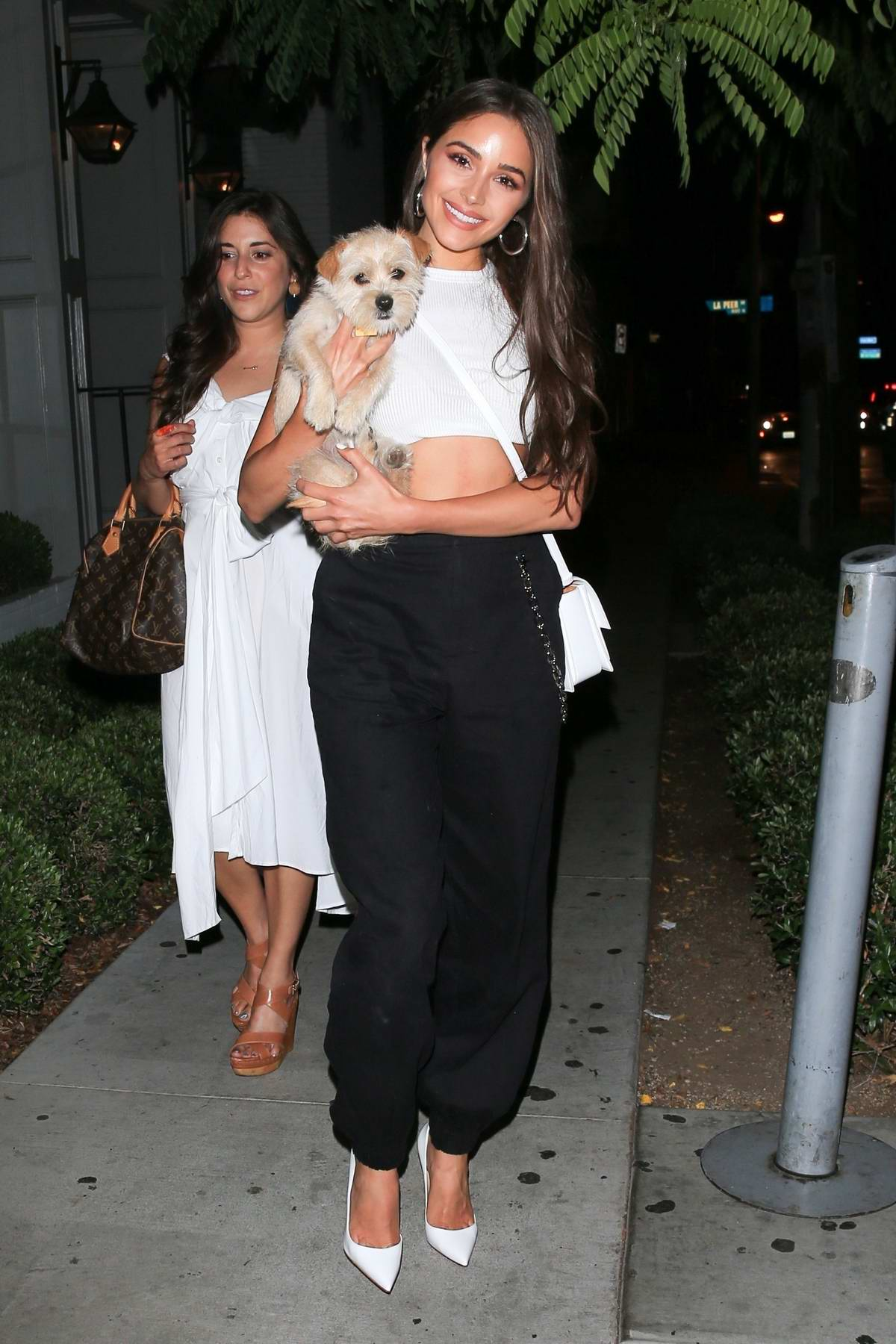 Olivia Culpo poses with her pup after grabbing dinner at Gracias Madre in West Hollywood, Los Angeles