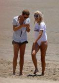 Pixie Lott enjoys a relaxing beach day in Los Angeles