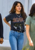 Selena Gomez wears an ACDC tee and high waist jeans as she hits the mall with her friends in Santa Monica, California