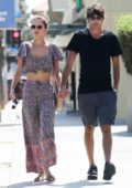 Alessandra Ambrosio enjoys a stroll with boyfriend Nicolo Oddi after a quick lunch in Santa Monica, California