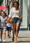 Alessandra Ambrosio takes her kids and mother out to celebrate her daughter's 10th birthday at Avra Estiatorio in Beverly Hills, Los Angeles