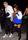 Ariana Grande and Pete Davidson arrives to her VMA 2018 after party concert at Irving Plaza in New York City