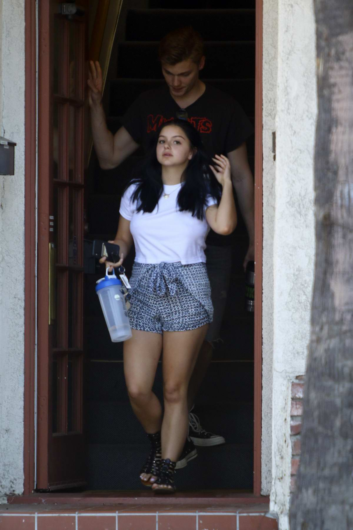 Ariel Winter keeps it cool in a white tee and shorts as she heads out on a warm day in Studio City, Los Angeles