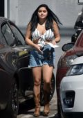 Ariel Winter spotted in a cropped top and denim shorts while running errands in Studio City, Los Angeles
