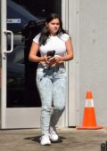 Ariel Winter spotted in a cropped white tee and jeans while running errands in Studio City, Los Angeles