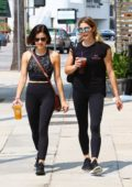 Ashley Greene and Lucy Hale leave the gym together in Studio City, Los Angeles