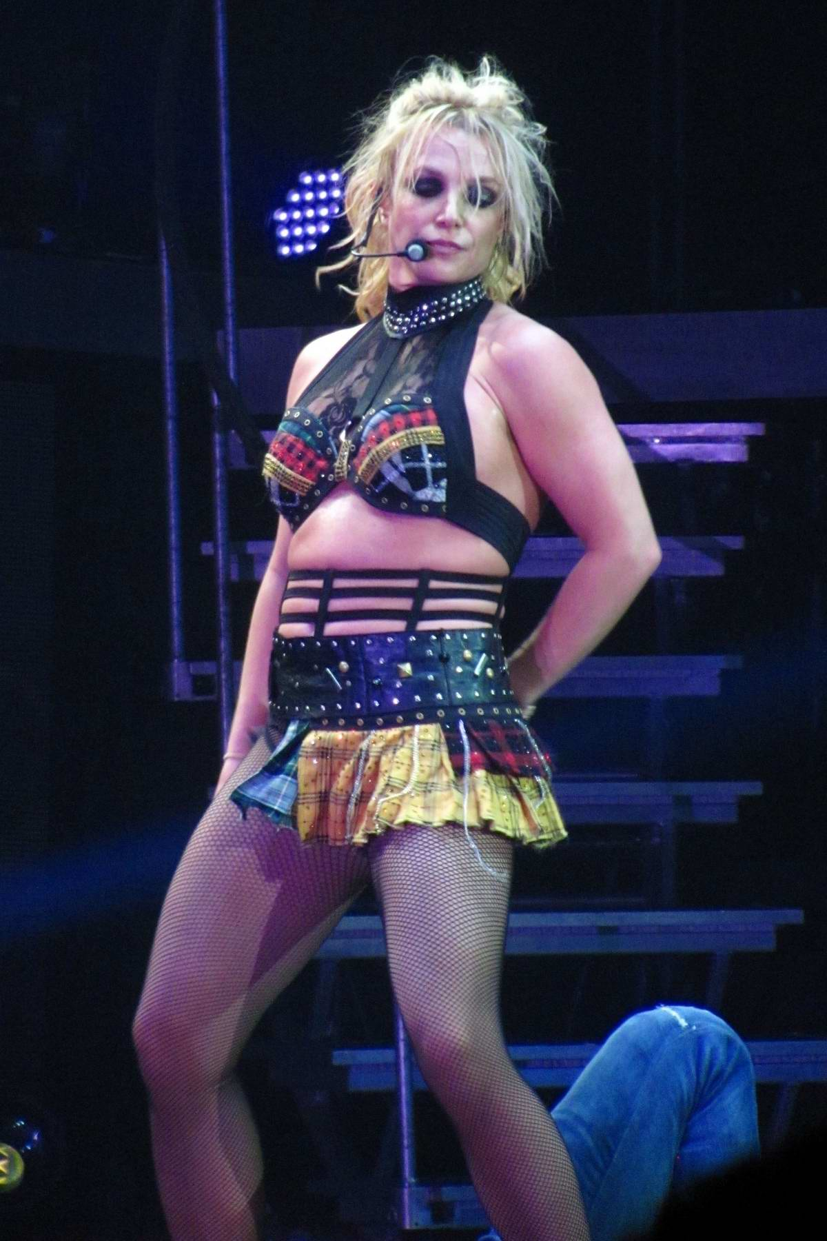 Britney Spears performing live on her World Tour in London, UK