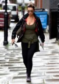 Catherine Tyldesley spotted in her activewear and sunglasses as she left the up gym in Manchester City Centre, UK
