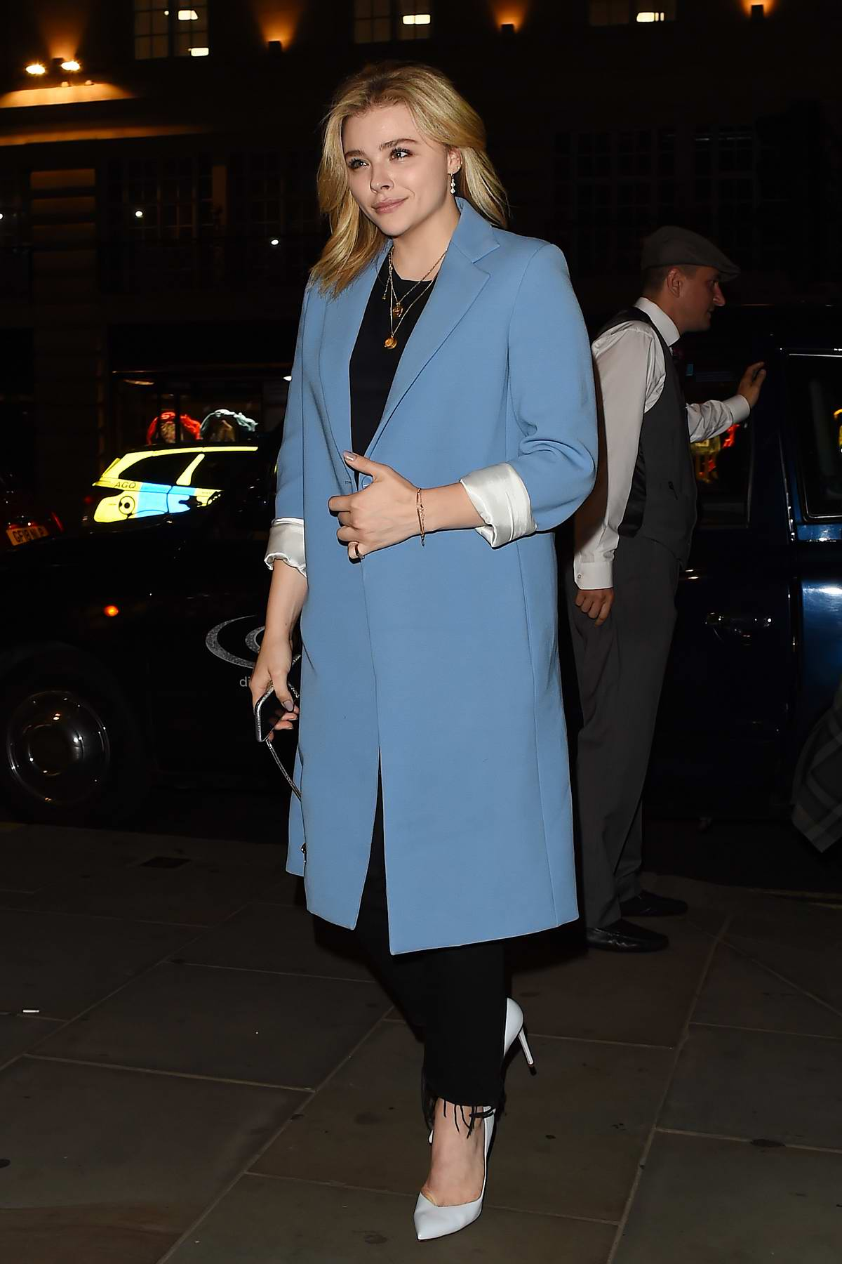 great deals on fashion on sale best place for Chloe Grace Moretz wears a powder blue coat and black ...